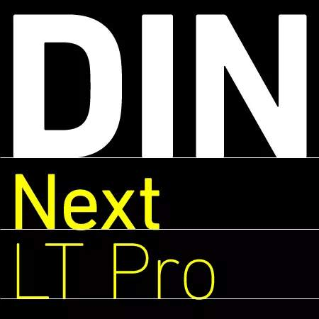 Пример начертания шрифта DIN Next LT Pro + Rounded